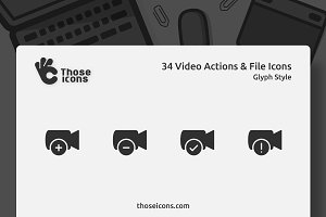 34 Video Actions & Files Glyph Icons