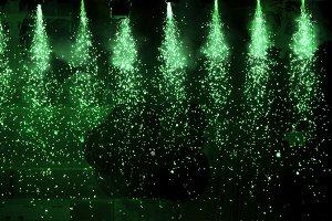 Sparkling green spotlights