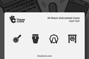 34 Music Instruments Glyph Icon