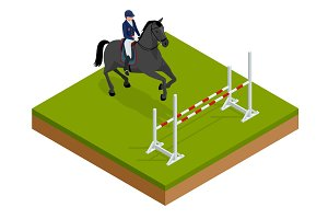 Jumping horse and rider practicing at racetrack. Isometric vector illustration Champion. Horse-racing. Hippodrome. Racetrack. Jump racetrack.
