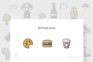 40 Food Outline Color Icon