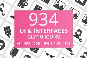 934 UI & Interfaces Glyph Icons