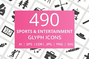 490 Sports Glyph Icons