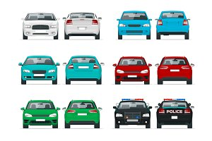 Vector set cars. Sedan Vehicle. Eco-friendly hi-tech auto. Template vector isolated on white View front and rear view.