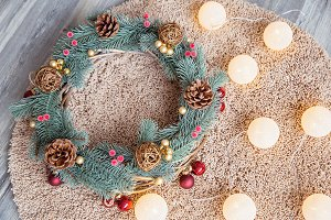 Christmas wreath and a garland