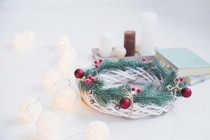 Decorative white conifer wreath