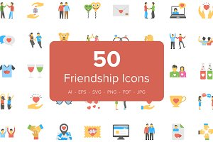 50 Flat Friendship Icons
