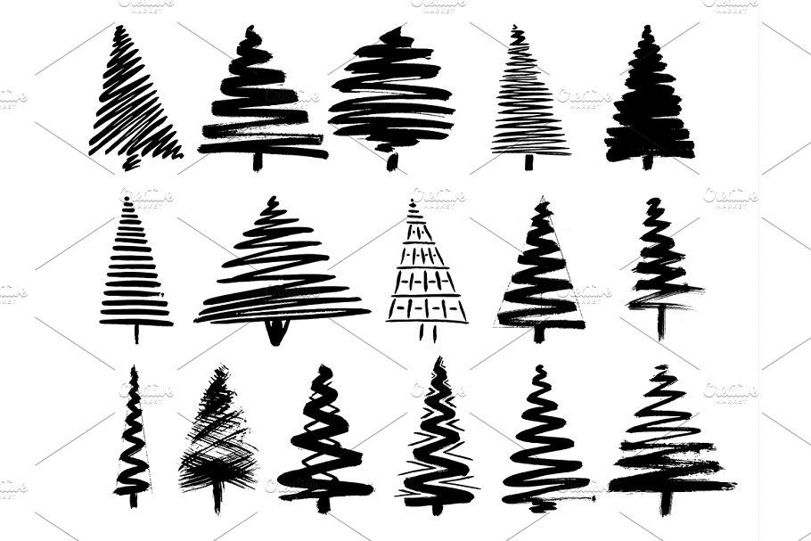Christmas Tree Sketch Set Isolated Illustrations Creative Market