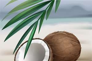 Coconut with green palm leaves
