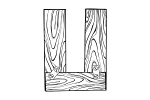 Wooden letter U engraving vector illustration