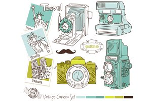 HandDrawn Vintage Camera +background