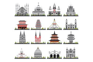 Religious Buildings Set Isolated
