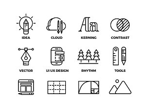 Creative process tools icons