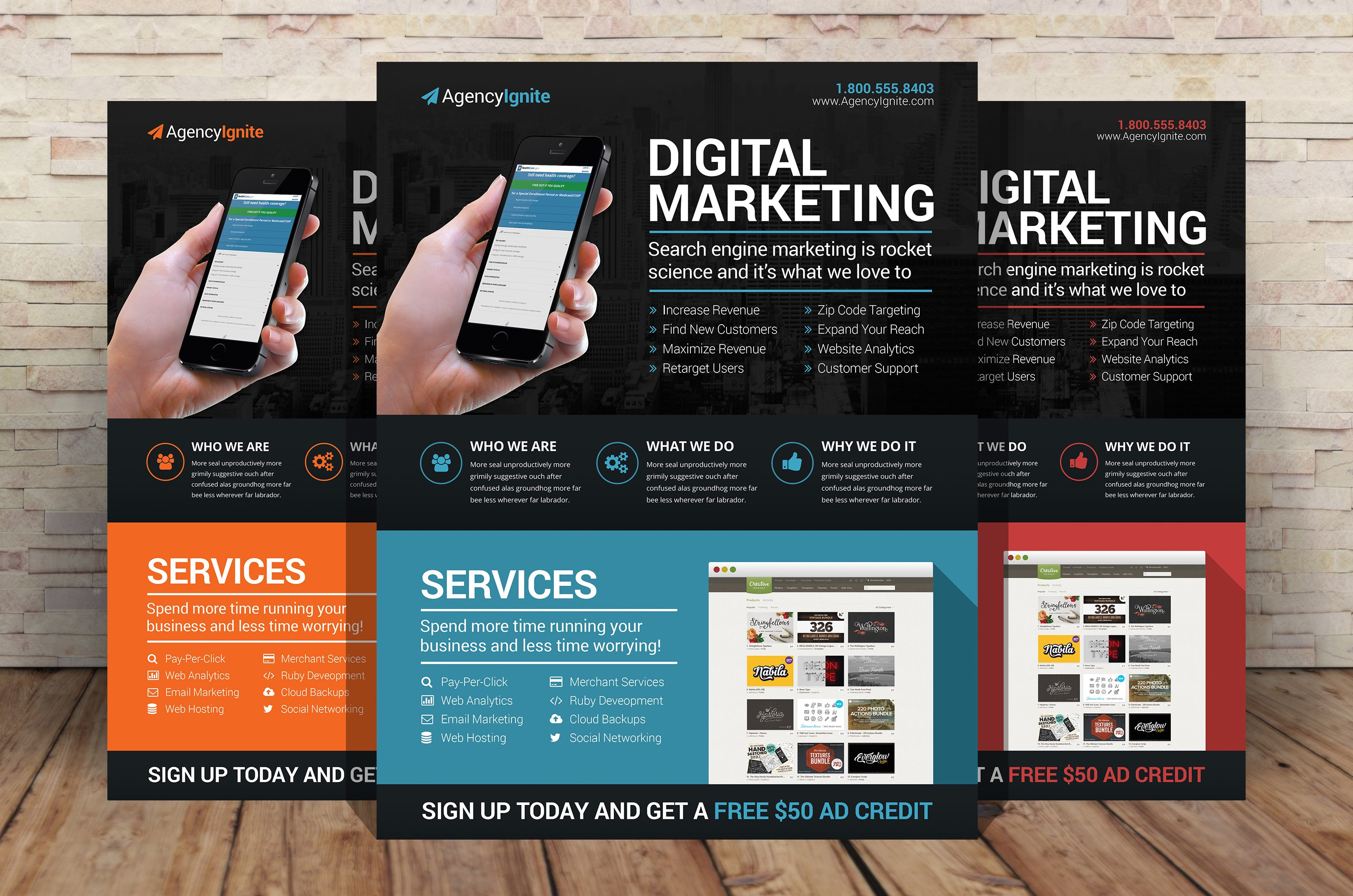 digital marketing flyer psd flyer templates creative market - Marketing Brochure Template