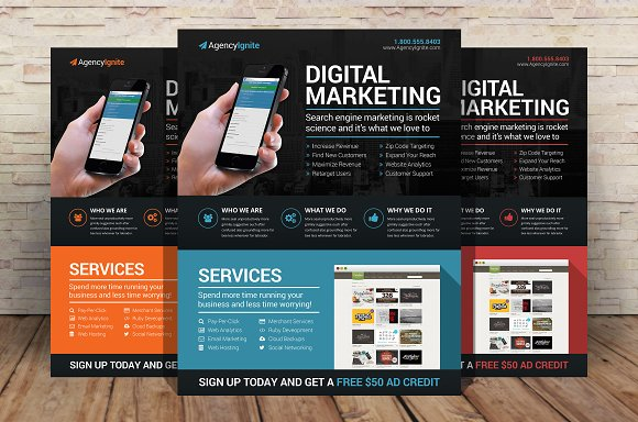 Digital Marketing Flyer PSD Flyer Templates on Creative Market – Free Product Flyer Templates