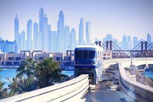Modern tram in Dubai