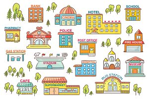 Cartoon City Buildings with Signs
