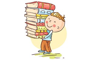 Boy is Carrying a Big Pile of Books