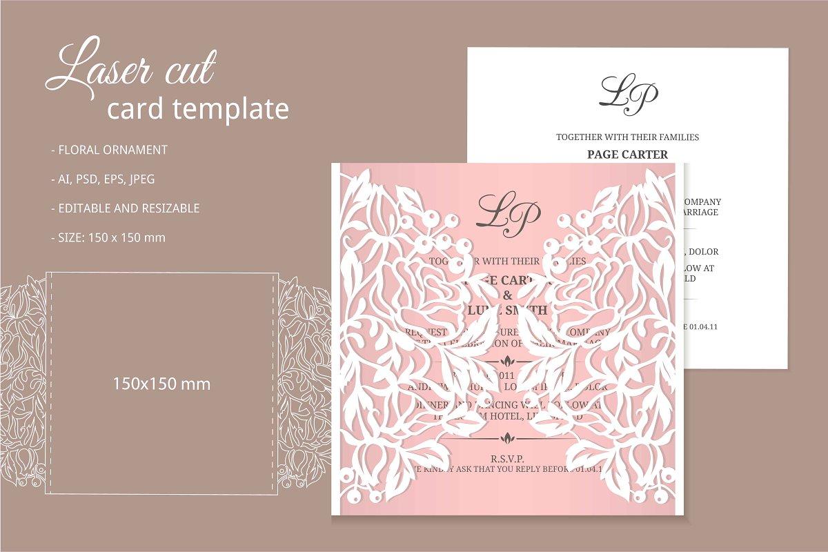 Wedding Invitations Template.Laser Cut Invitation Template