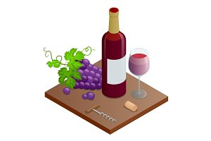 Bottle of red wine, bunches of wine grapes and glass of red wine. Vineyard grape icon isolated on white background, vector illustration