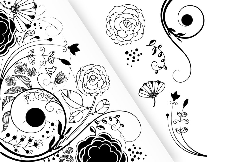 Flower Clip Art And A Floral Border Illustrations Creative Market
