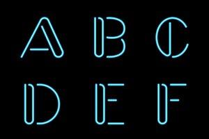 Vector Neon Letters, Alphabet