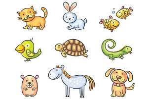 Set of Cartoon Pet Animals