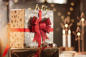 Christmas presents in beautiful boxes