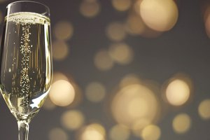 Festive bubbles in a glass of sparkling wine