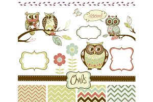 Owls clip art and elements set