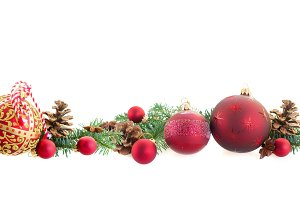 Christmas balls and evergreen twigs