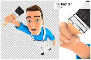 3D Painter Flying and Holding Brush