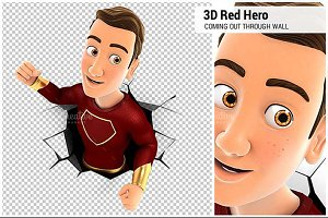 3D Red Hero Coming out Through a Wal