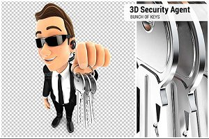 3D Security Agent Holding a Bunch of