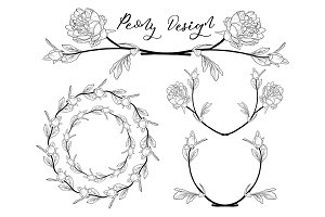 Vector Peony Flower Design. Divider, Frame and Wreath