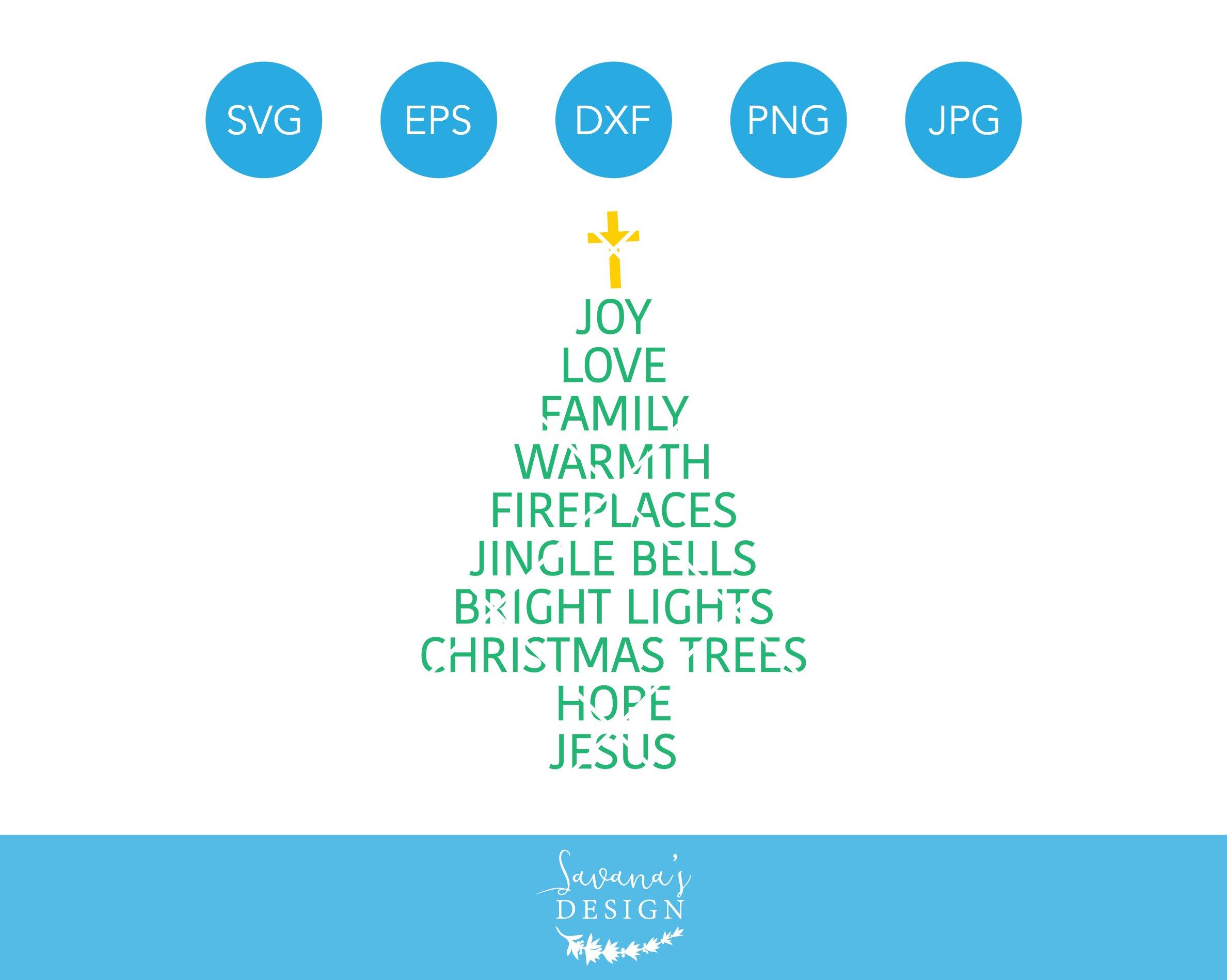 christmas tree words svg sayings  illustrations