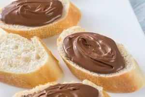 Baguette with chocolate spread