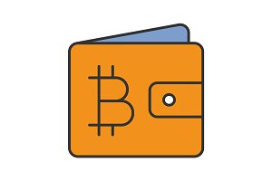 Wallet with bitcoin color icon