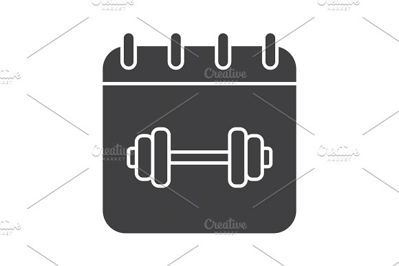 Gym workout schedule glyph icon