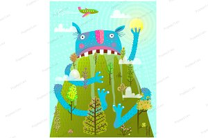 Funny Scary Amazing Mountain Monster