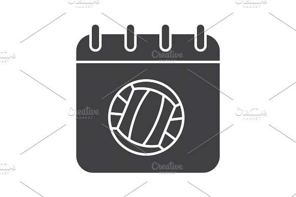 Volleyball championship date glyph icon
