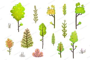 Trees Bush Green Forest Clipart