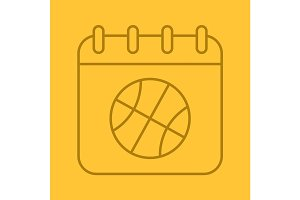 Basketball championship date linear icon