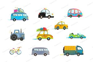 Cars Bus Taxi Police Truck Bicycle
