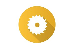 Circular saw blade flat design long shadow glyph icon
