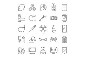 Gadgets linear icons set