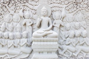 Ancient brick carving art of Buddha