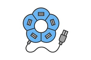 Flower shape USB hub color icon
