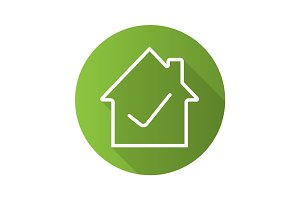 Approved house flat linear long shadow icon