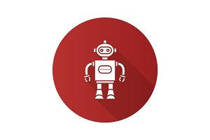 Toy robot flat design long shadow glyph icon